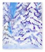Snow Laden Trees Fleece Blanket