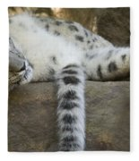 Snow Leopard Nap Fleece Blanket