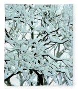 Snow On Branches Fleece Blanket