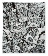 Snow On Branches Fleece Blanket