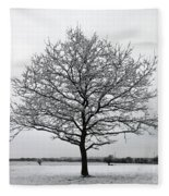 Snow On Epsom Downs Surrey Uk Fleece Blanket