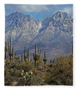 Snow On Four Peaks Arizona No Snow On Saguaros Fleece Blanket
