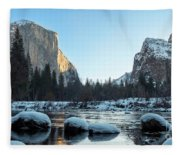 Snow On Large Rocks With El Capitan In The Background Fleece Blanket
