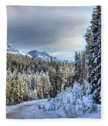 Snow On The Bow Valley Parkway Fleece Blanket
