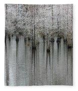 Snow On The Cypresses Fleece Blanket