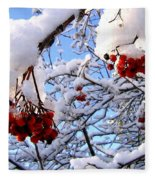 Snow On The Mountain Ash Fleece Blanket