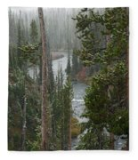 Snow On The Yellowstone River Fleece Blanket