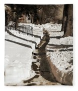 Snow Paths And Winter Shadows Fleece Blanket
