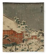 Snow Scene At Sens Ji Temple At Kinry Zan In The Eastern Capital Fleece Blanket
