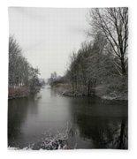 Snowy Scenery Along Canals Fleece Blanket