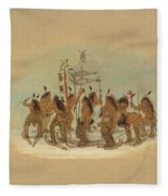Snow Shoe Dance. Ojibbeway Fleece Blanket