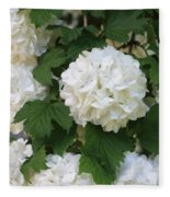 Snowball Tree With Delicate Leaves Fleece Blanket