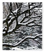 Snowfall And Tree Fleece Blanket