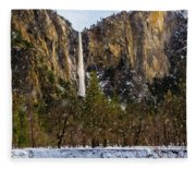 Snowfall Bridalveil Falls Fleece Blanket