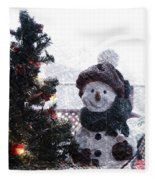 Snowman And Tree Pa Fleece Blanket
