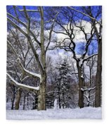 Snowman In Central Park Nyc Fleece Blanket
