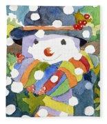 Snowman In Snow Fleece Blanket