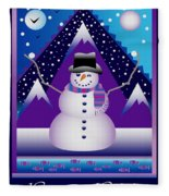 Snowman Juggler Fleece Blanket