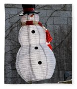 Snowman On The Roof Fleece Blanket