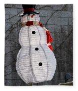 Snowman On The Roof Fleece Blanket