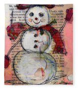 Snowman With Red Hat And Mistletoe Fleece Blanket