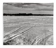 Snowmobile Tracks On China Lake Fleece Blanket
