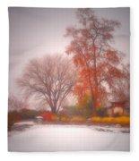 Snowstorm In The Japanese Gardens Fleece Blanket