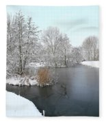 Chilled Scenery Around Frozen Canals Fleece Blanket