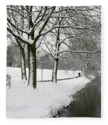Walking On A Snowy Area Fleece Blanket
