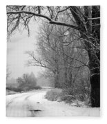 Snowy Branch Over Country Road - Black And White Fleece Blanket
