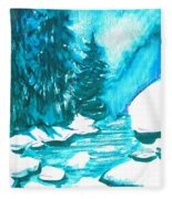 Snowy Creek Banks Fleece Blanket