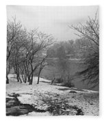Snowy Day On Redd's Pond And Old Burial Hill Fleece Blanket