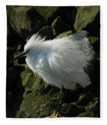 Snowy Egret Fluffy Fleece Blanket