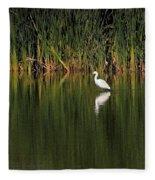 Snowy Egret In Marsh Reinterpreted Fleece Blanket