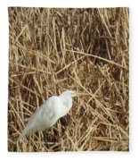Snowy Egret In Tall Grasses Fleece Blanket