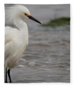 Snowy Egret In The Wind Fleece Blanket