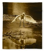 Snowy Egret Landing With Golden Tones Fleece Blanket