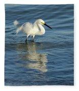 Snowy Egret On The Hunt II Fleece Blanket