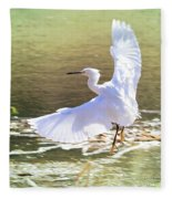 Snowy Egret Over Golden Pond Fleece Blanket