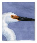 Snowy Egret Portrait Fleece Blanket