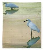 Snowy Egret Reflections  Fleece Blanket