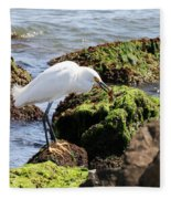 Snowy Egret  Series 2  1 Of 3  The Catch Fleece Blanket