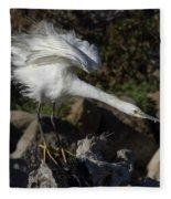 Snowy Egret Stretch Fleece Blanket