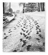 Snowy Footsteps Fleece Blanket