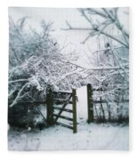Snowy Garden Gate Three Fleece Blanket