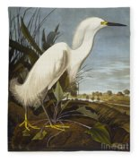 Snowy Heron Fleece Blanket
