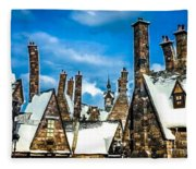 Snowy Hogsmeade Village Rooftops Fleece Blanket