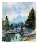 Snowy Lake Reflections Fleece Blanket
