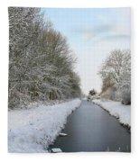 Frozen Scenery Along Canal Fleece Blanket