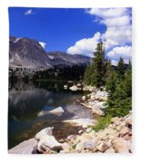 Snowy Mountain Lake Fleece Blanket